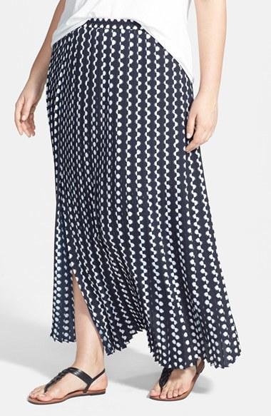 'atoll' Dot Print Pleat Maxi Skirt (Plus Size) - length: ankle length; fit: loose/voluminous; waist: mid/regular rise; secondary colour: white; predominant colour: navy; occasions: casual, holiday, creative work; style: maxi skirt; fibres: polyester/polyamide - 100%; texture group: crepes; pattern type: fabric; pattern: patterned/print; season: s/s 2014; pattern size: standard (bottom)