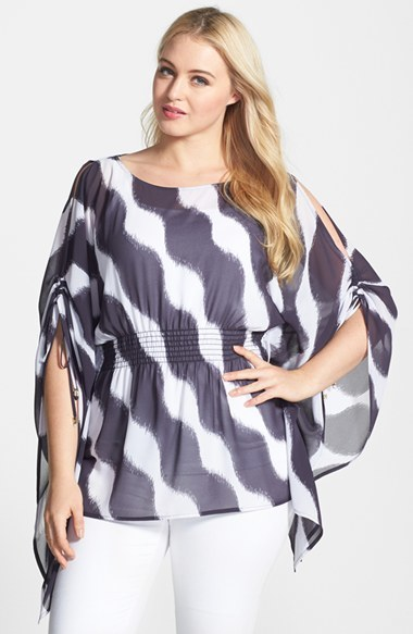 'wave' Cold Shoulder Flutter Top (Plus Size) - neckline: round neck; sleeve style: kimono; waist detail: elasticated waist; length: below the bottom; secondary colour: white; predominant colour: navy; occasions: casual, evening, holiday; style: top; fibres: polyester/polyamide - 100%; fit: body skimming; sleeve length: 3/4 length; texture group: sheer fabrics/chiffon/organza etc.; pattern type: fabric; pattern size: standard; pattern: patterned/print; season: s/s 2014