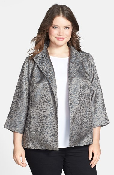 Refracted Silk Jacquard High Collar Jacket (Plus Size) - style: single breasted blazer; collar: standard lapel/rever collar; predominant colour: silver; occasions: casual, evening, creative work; length: standard; fit: straight cut (boxy); fibres: silk - 100%; sleeve length: 3/4 length; sleeve style: standard; collar break: low/open; pattern type: fabric; pattern: patterned/print; texture group: brocade/jacquard; season: s/s 2014