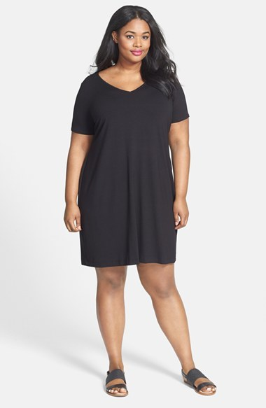V Neck Jersey Shift Dress (Plus Size) - style: t-shirt; neckline: low v-neck; fit: loose; pattern: plain; predominant colour: black; occasions: casual; length: just above the knee; fibres: viscose/rayon - stretch; sleeve length: short sleeve; sleeve style: standard; pattern type: fabric; texture group: jersey - stretchy/drapey; season: s/s 2014