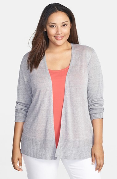 Delave Linen Open Front Cardigan (Plus Size) - pattern: plain; length: below the bottom; neckline: collarless open; style: open front; predominant colour: light grey; occasions: casual; fibres: linen - 100%; fit: loose; sleeve length: long sleeve; sleeve style: standard; texture group: knits/crochet; pattern type: knitted - fine stitch; season: s/s 2014