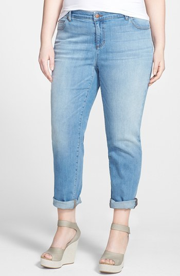 Organic Cotton Boyfriend Jeans (Plus Size) - style: boyfriend; pattern: plain; pocket detail: traditional 5 pocket; waist: mid/regular rise; predominant colour: pale blue; occasions: casual, creative work; length: ankle length; fibres: cotton - stretch; jeans detail: shading down centre of thigh; jeans & bottoms detail: turn ups; texture group: denim; pattern type: fabric; season: s/s 2014