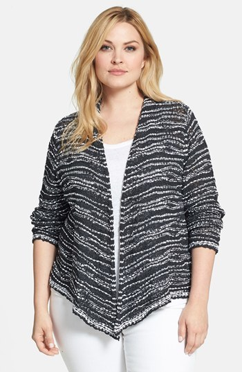 Draped Front Cotton Cardigan (Plus Size) - pattern: striped; neckline: collarless open; style: open front; secondary colour: white; predominant colour: black; occasions: casual; length: standard; fibres: cotton - 100%; fit: loose; back detail: shorter hem at back than at front; sleeve length: long sleeve; sleeve style: standard; texture group: knits/crochet; pattern type: knitted - big stitch; pattern size: standard; season: s/s 2014
