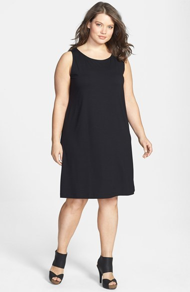 Scoop Neck Shift Dress (Plus Size) - style: shift; pattern: plain; sleeve style: sleeveless; predominant colour: black; occasions: evening; length: just above the knee; fit: soft a-line; neckline: scoop; fibres: viscose/rayon - stretch; sleeve length: sleeveless; pattern type: fabric; texture group: other - light to midweight; season: s/s 2014
