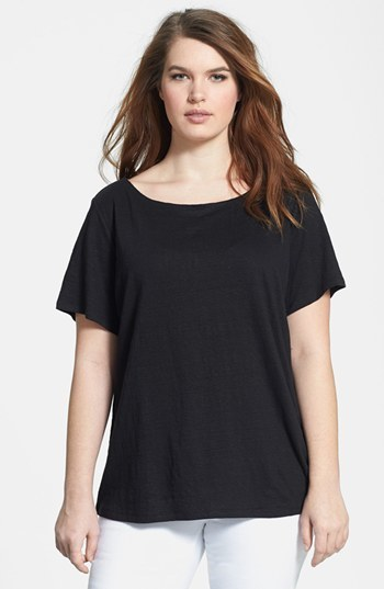 Bateau Neck Organic Linen Top (Plus Size) - pattern: plain; style: t-shirt; predominant colour: black; occasions: casual; length: standard; neckline: scoop; fibres: linen - 100%; fit: loose; sleeve length: short sleeve; sleeve style: standard; texture group: jersey - stretchy/drapey; season: s/s 2014