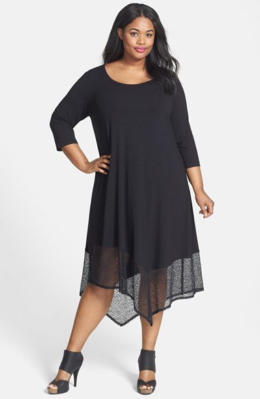 Lace Hem Scoop Neck Jersey Shift Dress (Plus Size) - length: calf length; fit: loose; pattern: plain; predominant colour: black; occasions: casual, evening; style: asymmetric (hem); neckline: scoop; fibres: viscose/rayon - stretch; hip detail: contrast fabric/print detail at hip; sleeve length: 3/4 length; sleeve style: standard; pattern type: fabric; texture group: jersey - stretchy/drapey; season: s/s 2014