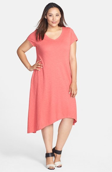 Hemp & Organic Cotton V Neck Shift Dress (Plus Size) - length: below the knee; neckline: low v-neck; fit: loose; pattern: plain; predominant colour: pink; occasions: casual, evening; fibres: cotton - mix; back detail: longer hem at back than at front; sleeve length: short sleeve; sleeve style: standard; pattern type: fabric; texture group: jersey - stretchy/drapey; season: s/s 2014