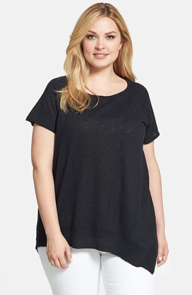 Organic Linen & Cotton Scoop Neck Cap Sleeve Top (Plus Size) - neckline: round neck; pattern: plain; length: below the bottom; predominant colour: black; occasions: casual, holiday; style: top; fibres: linen - mix; fit: loose; sleeve length: short sleeve; sleeve style: standard; pattern type: fabric; texture group: jersey - stretchy/drapey; season: s/s 2014