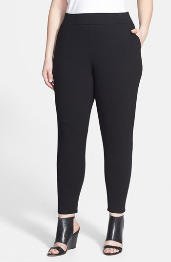 Slouchy Slim Ankle Pants (Plus Size) - pattern: plain; waist: high rise; predominant colour: black; occasions: casual, evening, work; length: ankle length; fibres: viscose/rayon - stretch; fit: skinny/tight leg; pattern type: fabric; texture group: other - light to midweight; style: standard; season: s/s 2014