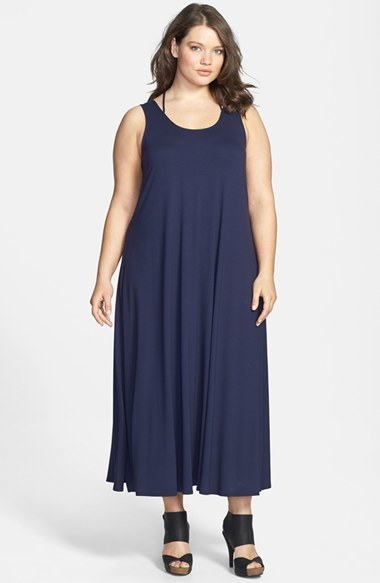 Scoop Neck Racerback Strap Jersey Dress (Plus Size) - fit: loose; pattern: plain; sleeve style: sleeveless; style: maxi dress; length: ankle length; back detail: racer back/sports back; predominant colour: navy; occasions: casual, holiday; neckline: scoop; fibres: viscose/rayon - stretch; sleeve length: sleeveless; pattern type: fabric; texture group: jersey - stretchy/drapey; season: s/s 2014