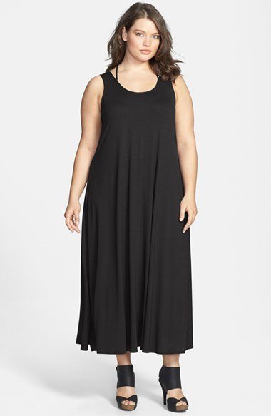 Scoop Neck Racerback Strap Jersey Dress (Plus Size) - fit: loose; pattern: plain; sleeve style: sleeveless; style: maxi dress; length: ankle length; back detail: racer back/sports back; predominant colour: black; occasions: casual, evening, holiday; neckline: scoop; fibres: viscose/rayon - stretch; sleeve length: sleeveless; pattern type: fabric; texture group: jersey - stretchy/drapey; season: s/s 2014