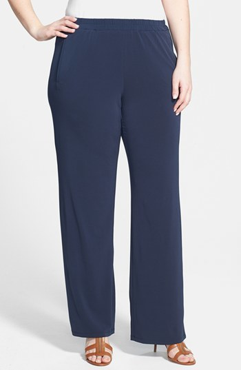 'core' Wide Leg Pants (Plus Size) - length: standard; pattern: plain; waist detail: elasticated waist; waist: mid/regular rise; predominant colour: navy; occasions: casual, work, creative work; fibres: polyester/polyamide - stretch; fit: wide leg; pattern type: fabric; texture group: other - light to midweight; style: standard; season: s/s 2014