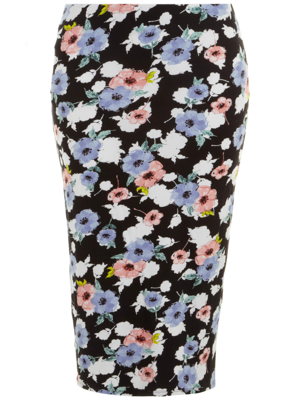 Black Floral Midi Skirt - length: calf length; fit: tight; waist: mid/regular rise; occasions: casual, evening, creative work; fibres: viscose/rayon - stretch; style: tube; predominant colour: multicoloured; texture group: jersey - clingy; pattern type: fabric; pattern: florals; season: s/s 2014; pattern size: big & busy (bottom); multicoloured: multicoloured