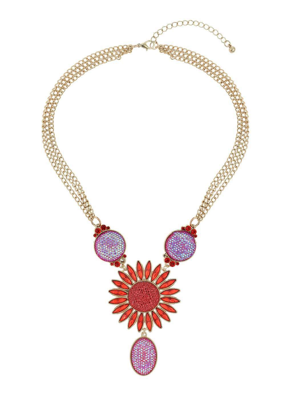 Pink Bead And Mesh Necklace - secondary colour: gold; occasions: evening; predominant colour: multicoloured; length: mid; size: large/oversized; material: chain/metal; finish: metallic; embellishment: jewels/stone; style: bib/statement; season: s/s 2014; multicoloured: multicoloured