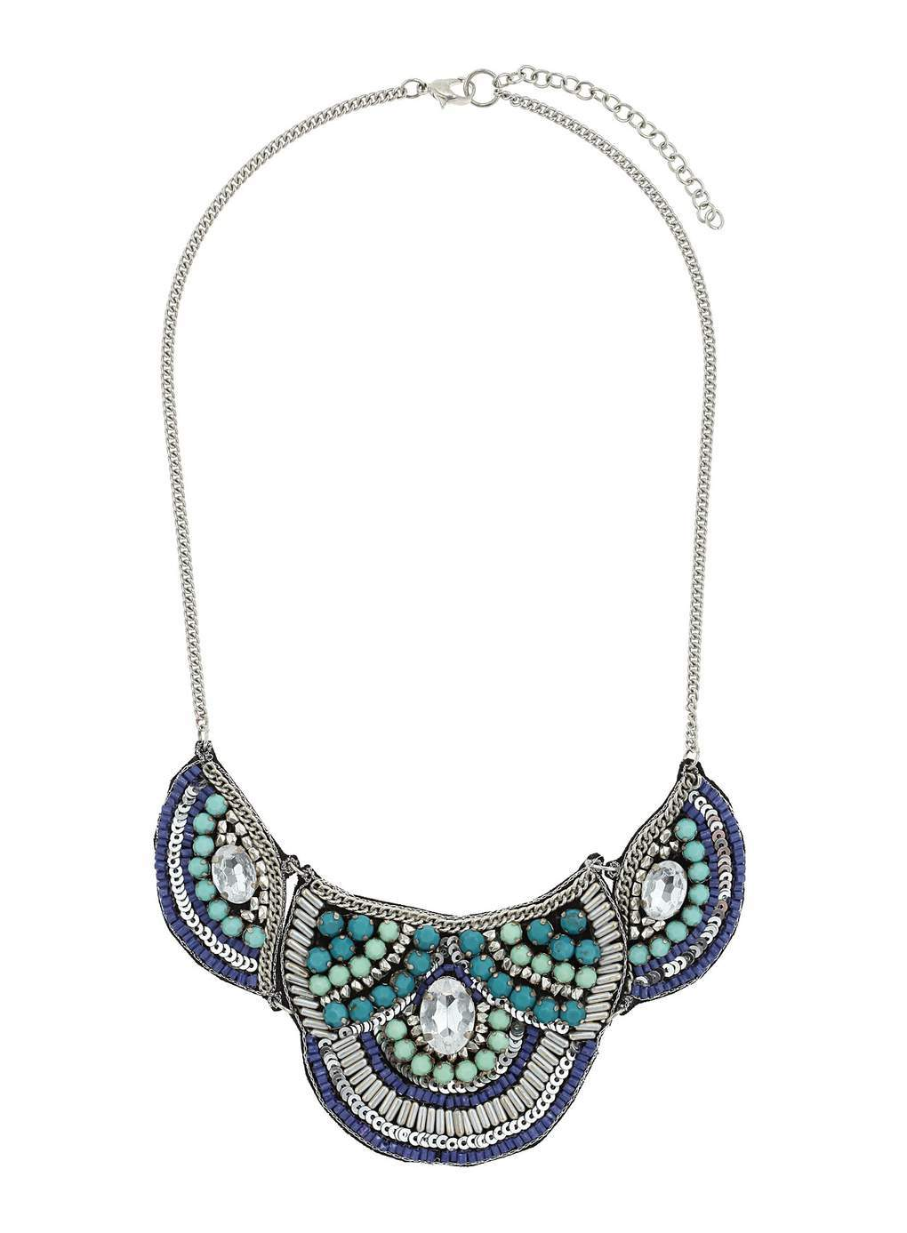 Blue Beaded Fabric Necklace - secondary colour: silver; occasions: evening, occasion; predominant colour: multicoloured; length: mid; size: large/oversized; material: chain/metal; finish: metallic; embellishment: beading; style: bib/statement; season: s/s 2014; multicoloured: multicoloured