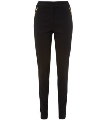 Tall Black Zip Side Bengaline Slim Trousers - length: standard; pattern: plain; waist: mid/regular rise; predominant colour: black; occasions: casual, evening, creative work; fibres: viscose/rayon - 100%; fit: slim leg; texture group: woven light midweight; style: standard; season: s/s 2014