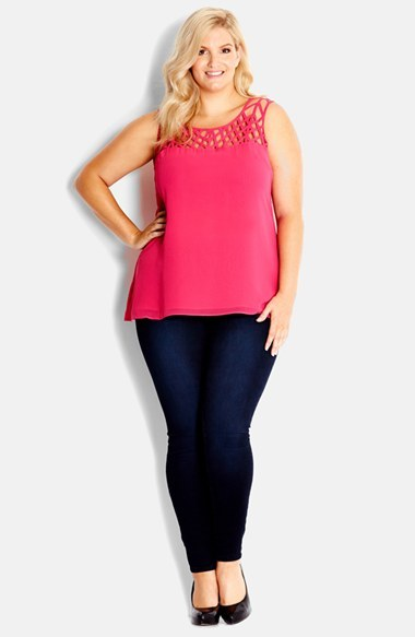 Crosshatch Top (Plus Size) - neckline: round neck; sleeve style: standard vest straps/shoulder straps; pattern: plain; bust detail: added detail/embellishment at bust; length: below the bottom; predominant colour: hot pink; occasions: casual, evening, creative work; style: top; fibres: polyester/polyamide - 100%; fit: body skimming; sleeve length: sleeveless; texture group: sheer fabrics/chiffon/organza etc.; pattern type: fabric; season: s/s 2014