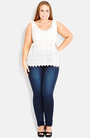 Daisy Crochet Tank (Plus Size) - sleeve style: standard vest straps/shoulder straps; pattern: plain; predominant colour: ivory/cream; occasions: casual, evening, creative work; length: standard; style: top; neckline: scoop; fibres: polyester/polyamide - 100%; fit: body skimming; sleeve length: sleeveless; texture group: knits/crochet; pattern type: fabric; season: s/s 2014