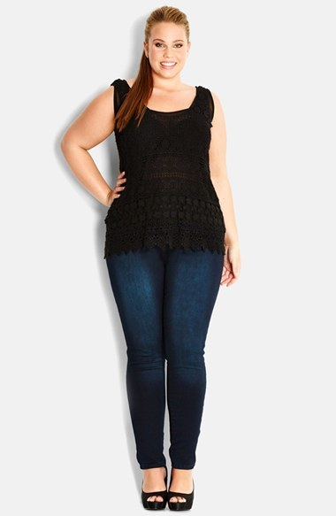 Daisy Crochet Tank (Plus Size) - sleeve style: standard vest straps/shoulder straps; pattern: plain; predominant colour: black; occasions: casual, evening, creative work; length: standard; style: top; neckline: scoop; fibres: polyester/polyamide - 100%; fit: body skimming; sleeve length: sleeveless; texture group: knits/crochet; pattern type: fabric; season: s/s 2014