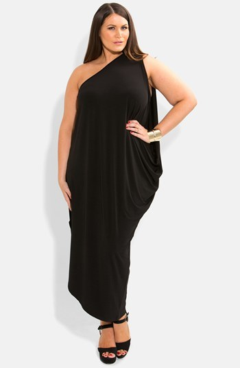 One Shoulder Draped Jersey Maxi Dress (Plus Size) - fit: loose; pattern: plain; sleeve style: sleeveless; style: maxi dress; length: ankle length; neckline: asymmetric; predominant colour: black; occasions: evening, occasion; fibres: polyester/polyamide - stretch; hip detail: subtle/flattering hip detail; shoulder detail: asymmetric shoulder; sleeve length: sleeveless; pattern type: fabric; texture group: jersey - stretchy/drapey; season: s/s 2014