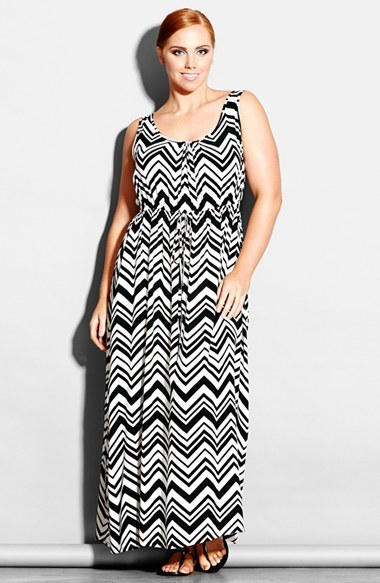'jamaica' Maxi Dress (Plus Size) - fit: fitted at waist; sleeve style: sleeveless; style: maxi dress; length: ankle length; waist detail: belted waist/tie at waist/drawstring; secondary colour: white; predominant colour: black; occasions: casual, evening, holiday; neckline: scoop; fibres: viscose/rayon - 100%; hip detail: soft pleats at hip/draping at hip/flared at hip; sleeve length: sleeveless; pattern size: standard; pattern: patterned/print; texture group: woven light midweight; season: s/s 2014; trends: monochrome