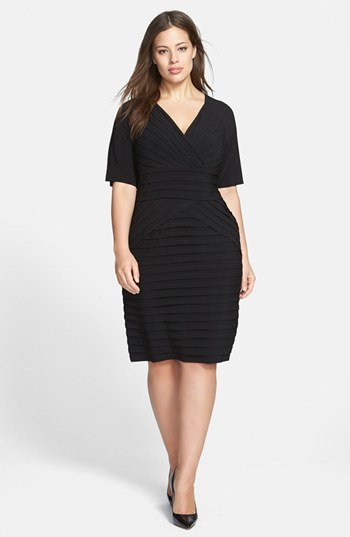 Shutter Pleat Sheath Dress (Plus Size) - style: faux wrap/wrap; length: below the knee; neckline: low v-neck; fit: tailored/fitted; pattern: plain; waist detail: structured pleats at waist; predominant colour: black; occasions: evening, occasion, creative work; fibres: polyester/polyamide - stretch; hip detail: structured pleats at hip; sleeve length: half sleeve; sleeve style: standard; texture group: crepes; bust detail: tiers/frills/bulky drapes/pleats; pattern type: fabric; trends: powerful pleats; season: s/s 2014