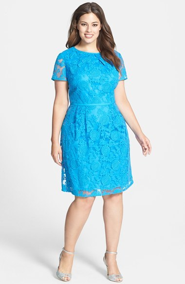 'pleats' Lace Dress (Plus Size) - neckline: round neck; bust detail: ruching/gathering/draping/layers/pintuck pleats at bust; predominant colour: turquoise; occasions: evening, occasion; length: on the knee; fit: fitted at waist & bust; style: fit & flare; fibres: cotton - stretch; hip detail: sculpting darts/pleats/seams at hip; sleeve length: short sleeve; sleeve style: standard; texture group: lace; pattern type: fabric; pattern: patterned/print; trends: hot brights, lace; season: s/s 2014