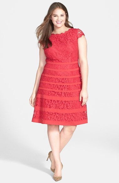 Banded Stripe Lace Dress (Plus Size) - neckline: slash/boat neckline; sleeve style: capped; predominant colour: true red; occasions: evening, occasion; length: just above the knee; fit: fitted at waist & bust; style: fit & flare; fibres: polyester/polyamide - 100%; hip detail: adds bulk at the hips; sleeve length: short sleeve; texture group: lace; pattern: patterned/print; trends: hot brights, lace; season: s/s 2014