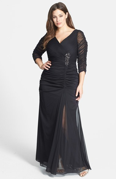 Beaded Mesh Gown (Plus Size) - style: ballgown; neckline: low v-neck; pattern: plain; waist detail: embellishment at waist/feature waistband; predominant colour: black; occasions: evening, occasion; length: floor length; fit: body skimming; fibres: polyester/polyamide - 100%; hip detail: ruching/gathering at hip; shoulder detail: flat/draping pleats/ruching/gathering at shoulder; sleeve length: 3/4 length; sleeve style: standard; texture group: sheer fabrics/chiffon/organza etc.; embellishment: jewels/stone; season: s/s 2014