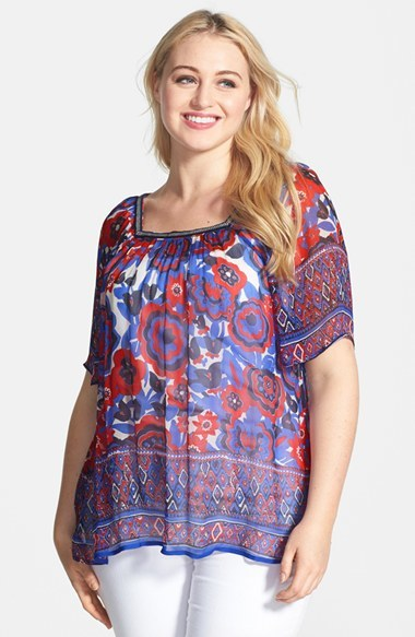 Border Print Sheer Floral Peasant Top (Plus Size) - length: below the bottom; occasions: casual, holiday; fibres: viscose/rayon - 100%; fit: loose; style: gypsy/peasant; predominant colour: multicoloured; sleeve length: short sleeve; sleeve style: standard; texture group: sheer fabrics/chiffon/organza etc.; neckline: medium square neck; pattern type: fabric; pattern: patterned/print; season: s/s 2014; pattern size: big & busy (top); multicoloured: multicoloured