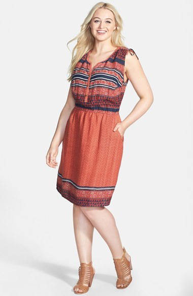 'mandarin' Tie Shoulder Print Dress (Plus Size) - style: shift; length: below the knee; neckline: round neck; fit: fitted at waist; sleeve style: sleeveless; secondary colour: navy; predominant colour: bright orange; occasions: casual; fibres: viscose/rayon - 100%; shoulder detail: subtle shoulder detail; sleeve length: sleeveless; texture group: cotton feel fabrics; pattern type: fabric; pattern size: big & busy; pattern: patterned/print; trends: world traveller; season: s/s 2014; embellishment location: bust