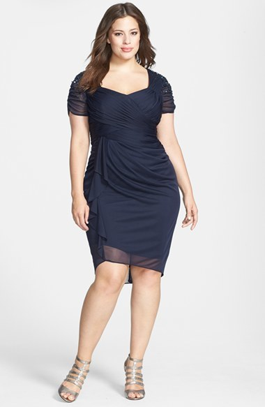 Cap Sleeve Side Ruched Dress (Plus Size) - pattern: plain; neckline: sweetheart; waist detail: flattering waist detail; bust detail: subtle bust detail; predominant colour: navy; occasions: evening, occasion; length: just above the knee; fit: body skimming; style: asymmetric (hem); fibres: polyester/polyamide - 100%; hip detail: subtle/flattering hip detail; sleeve length: short sleeve; sleeve style: standard; texture group: sheer fabrics/chiffon/organza etc.; pattern type: fabric; embellishment: beading; season: s/s 2014; wardrobe: event; embellishment location: shoulder