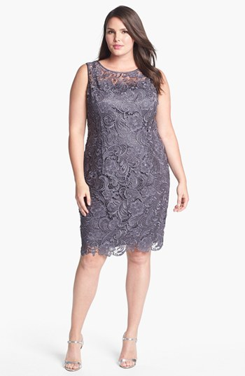 Sleeveless Lace Dress (Plus Size) - style: shift; neckline: round neck; fit: tailored/fitted; sleeve style: sleeveless; predominant colour: purple; occasions: evening, occasion; length: on the knee; fibres: polyester/polyamide - 100%; back detail: keyhole/peephole detail at back; sleeve length: sleeveless; texture group: lace; pattern type: fabric; pattern: patterned/print; trends: lace; season: s/s 2014