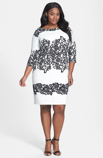 Print Sheath Dress (Plus Size) - style: shift; neckline: round neck; predominant colour: white; secondary colour: black; occasions: evening, occasion; length: on the knee; fit: body skimming; fibres: polyester/polyamide - stretch; sleeve length: 3/4 length; sleeve style: standard; texture group: crepes; pattern type: fabric; pattern: florals; trends: lace, monochrome; season: s/s 2014