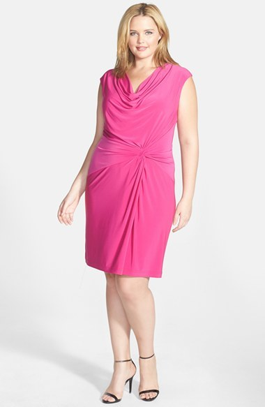 Asymmetric Drape Cowl Neck Jersey Sheath Dress (Plus Size) - style: shift; neckline: cowl/draped neck; sleeve style: capped; pattern: plain; waist detail: flattering waist detail; predominant colour: hot pink; occasions: casual, evening, occasion; length: just above the knee; fit: body skimming; fibres: polyester/polyamide - stretch; sleeve length: sleeveless; pattern type: fabric; texture group: jersey - stretchy/drapey; trends: hot brights; season: s/s 2014