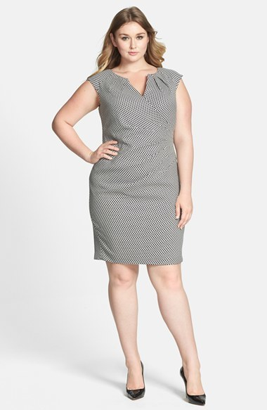 Print Pleated Split Neck Sheath Dress (Plus Size) - style: shift; neckline: v-neck; sleeve style: capped; fit: tailored/fitted; pattern: checked/gingham; secondary colour: white; predominant colour: black; occasions: work, occasion, creative work; length: just above the knee; fibres: polyester/polyamide - stretch; sleeve length: sleeveless; pattern type: fabric; pattern size: standard; texture group: woven light midweight; season: s/s 2014; trends: monochrome