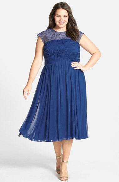 Illusion Yoke Ruched Dress (Plus Size) - length: below the knee; sleeve style: capped; pattern: plain; back detail: low cut/open back; shoulder detail: contrast pattern/fabric at shoulder; bust detail: ruching/gathering/draping/layers/pintuck pleats at bust; predominant colour: navy; occasions: evening, occasion; fit: fitted at waist & bust; fibres: polyester/polyamide - 100%; neckline: crew; hip detail: soft pleats at hip/draping at hip/flared at hip; sleeve length: short sleeve; texture group: sheer fabrics/chiffon/organza etc.; pattern type: fabric; embellishment: lace; trends: powerful pleats, sheer; season: s/s 2014