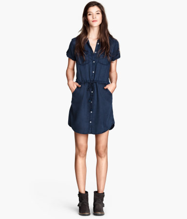 Lyocell Shirt Dress - style: shirt; length: mid thigh; neckline: shirt collar/peter pan/zip with opening; fit: fitted at waist; pattern: plain; waist detail: belted waist/tie at waist/drawstring; bust detail: subtle bust detail; predominant colour: navy; occasions: casual; fibres: viscose/rayon - 100%; sleeve length: short sleeve; sleeve style: standard; texture group: denim; pattern type: fabric; season: s/s 2014; wardrobe: basic