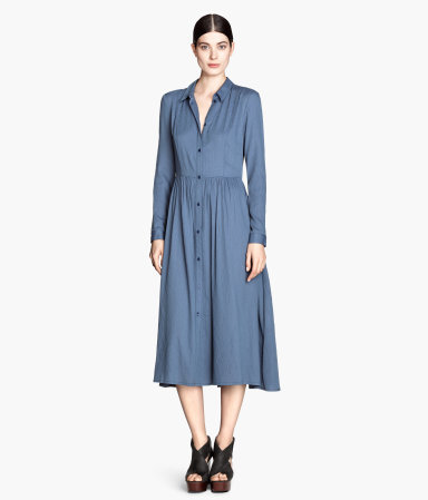 Long Shirt Dress - style: shirt; length: calf length; neckline: shirt collar/peter pan/zip with opening; fit: fitted at waist; pattern: plain; predominant colour: denim; occasions: casual, evening, creative work; hip detail: soft pleats at hip/draping at hip/flared at hip; sleeve length: long sleeve; sleeve style: standard; pattern type: fabric; texture group: other - light to midweight; fibres: viscose/rayon - mix; season: s/s 2014