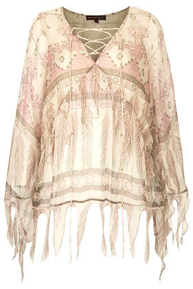 **Tassel Feather Print Blouse Kate Moss For - neckline: v-neck; sleeve style: angel/waterfall; style: blouse; secondary colour: ivory/cream; predominant colour: blush; occasions: casual, holiday, creative work; length: standard; fibres: viscose/rayon - 100%; fit: loose; sleeve length: long sleeve; texture group: sheer fabrics/chiffon/organza etc.; pattern type: fabric; pattern size: standard; pattern: patterned/print; trends: world traveller; season: s/s 2014