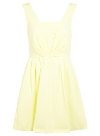 Petites Yellow Prom Dress - sleeve style: wide vest straps; length: mini; pattern: plain; bust detail: subtle bust detail; predominant colour: primrose yellow; occasions: casual, evening, occasion; fit: fitted at waist & bust; style: fit & flare; fibres: cotton - stretch; hip detail: subtle/flattering hip detail; sleeve length: sleeveless; neckline: low square neck; texture group: brocade/jacquard; trends: sorbet shades; season: s/s 2014