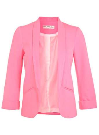 Neon Pink Ponti Blazer - pattern: plain; style: single breasted blazer; collar: shawl/waterfall; predominant colour: pink; occasions: casual, evening, occasion, creative work; length: standard; fit: tailored/fitted; fibres: polyester/polyamide - stretch; sleeve length: 3/4 length; sleeve style: standard; collar break: low/open; texture group: woven light midweight; season: s/s 2014