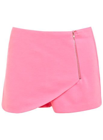 Neon Pink Zip Ponti Skort - length: mini; pattern: plain; fit: tailored/fitted; style: skorts; waist: low rise; predominant colour: pink; occasions: casual, evening; fibres: polyester/polyamide - stretch; pattern type: fabric; texture group: other - light to midweight; embellishment: zips; season: s/s 2014; wardrobe: highlight; embellishment location: hip, waist