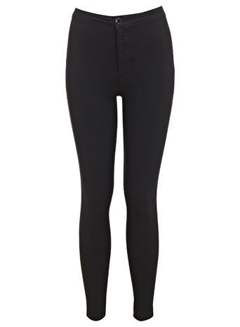 Petites Black High Waist Jean - style: skinny leg; length: standard; pattern: plain; waist: high rise; pocket detail: traditional 5 pocket; predominant colour: black; occasions: casual, evening, creative work; fibres: cotton - stretch; texture group: denim; pattern type: fabric; season: s/s 2014
