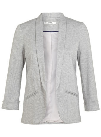 Petites Grey Ponti Blazer - style: single breasted blazer; collar: shawl/waterfall; predominant colour: mid grey; occasions: casual, work, creative work; length: standard; fit: tailored/fitted; fibres: polyester/polyamide - mix; sleeve length: 3/4 length; sleeve style: standard; collar break: low/open; pattern type: fabric; texture group: woven light midweight; season: s/s 2014; pattern: marl