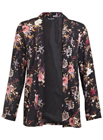 Dark Floral Print Kimono - style: single breasted blazer; collar: shawl/waterfall; fit: loose; length: below the bottom; occasions: casual, evening, creative work; fibres: polyester/polyamide - 100%; predominant colour: multicoloured; sleeve length: long sleeve; sleeve style: standard; texture group: crepes; collar break: low/open; pattern type: fabric; pattern size: standard; pattern: florals; trends: furious florals; season: s/s 2014; multicoloured: multicoloured
