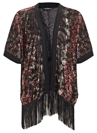 Petites Burnout Fringe Kimono - length: below the bottom; neckline: collarless open; style: open front; predominant colour: black; occasions: casual, evening; fibres: polyester/polyamide - stretch; fit: loose; sleeve length: half sleeve; sleeve style: standard; pattern type: fabric; pattern size: standard; pattern: patterned/print; texture group: other - light to midweight; embellishment: fringing; season: s/s 2014; multicoloured: multicoloured; wardrobe: highlight; embellishment location: hem