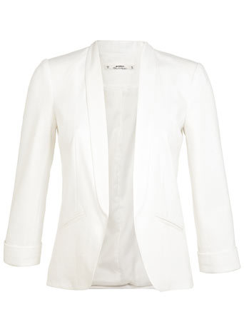 Petites Ivory Ponti Blazer - pattern: plain; style: single breasted blazer; collar: shawl/waterfall; predominant colour: ivory/cream; occasions: casual, evening, occasion; length: standard; fit: tailored/fitted; fibres: polyester/polyamide - stretch; sleeve length: 3/4 length; sleeve style: standard; collar break: low/open; pattern type: fabric; texture group: woven light midweight; season: s/s 2014