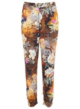 Dusklight Digi Trousers - length: standard; waist: mid/regular rise; occasions: casual, evening, creative work; fibres: polyester/polyamide - 100%; predominant colour: multicoloured; texture group: crepes; fit: slim leg; pattern type: fabric; pattern: florals; style: standard; trends: furious florals; season: s/s 2014; pattern size: standard (bottom); multicoloured: multicoloured
