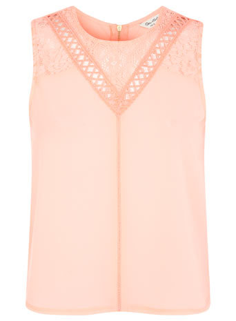 Lace And Woven Front Top - neckline: round neck; pattern: plain; sleeve style: sleeveless; predominant colour: nude; occasions: casual, evening; length: standard; style: top; fibres: polyester/polyamide - stretch; fit: straight cut; sleeve length: sleeveless; pattern type: fabric; texture group: jersey - stretchy/drapey; embellishment: lace; season: s/s 2014